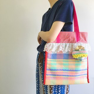 binli for Boy Tricks series of hand-woven lace PVC tape colored plaid pink & blue tote bag