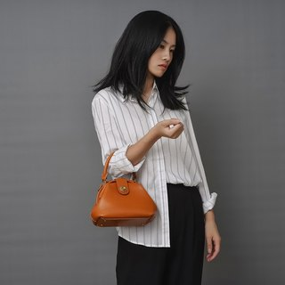 [tangent pie] round shape doctor bag handbag handmade leather retro messenger bag
