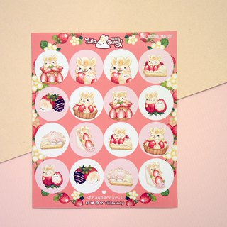 Small round stickers - Strawberry Rabbit 2.0