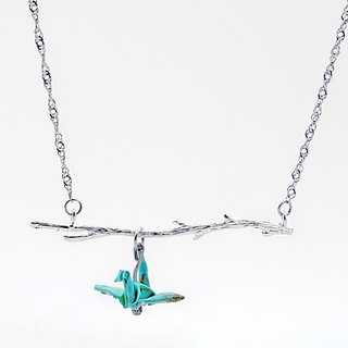 Branches cranes Necklace (Green Lake) - Valentine's Day gift