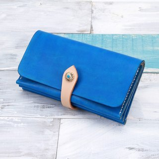 [Cut line] leather handmade organ wallets / hit color retro long folder 013 hand dyed blue