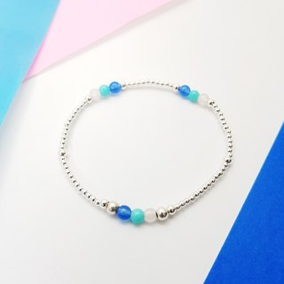 [ColorDay] hi Zizi small stone ~ pink crystal _ blue agate _ Tianhe stone silver elastic bracelet (Rose Quartz_Amazonite_Blue Agate Silver Bracelet _ ロ ー ズ ク オ ー ツ _ ア マ oz ナ イ ト _ ブ ル ー ア ー ー Suites)