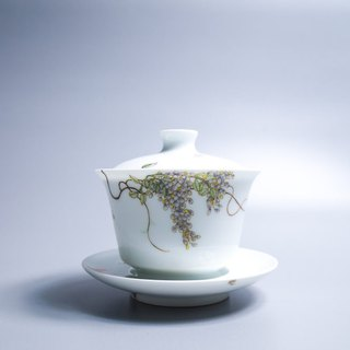 Since the slow hall glaze in the auspicious cover cup - Wisteria