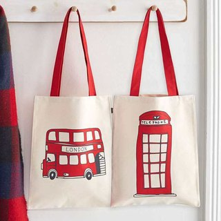 British egg canvas bag telephone booth and bus