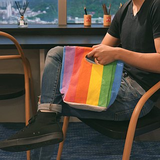 "Canadian fluf organic cotton ""hand bag"" - six-color rainbow"