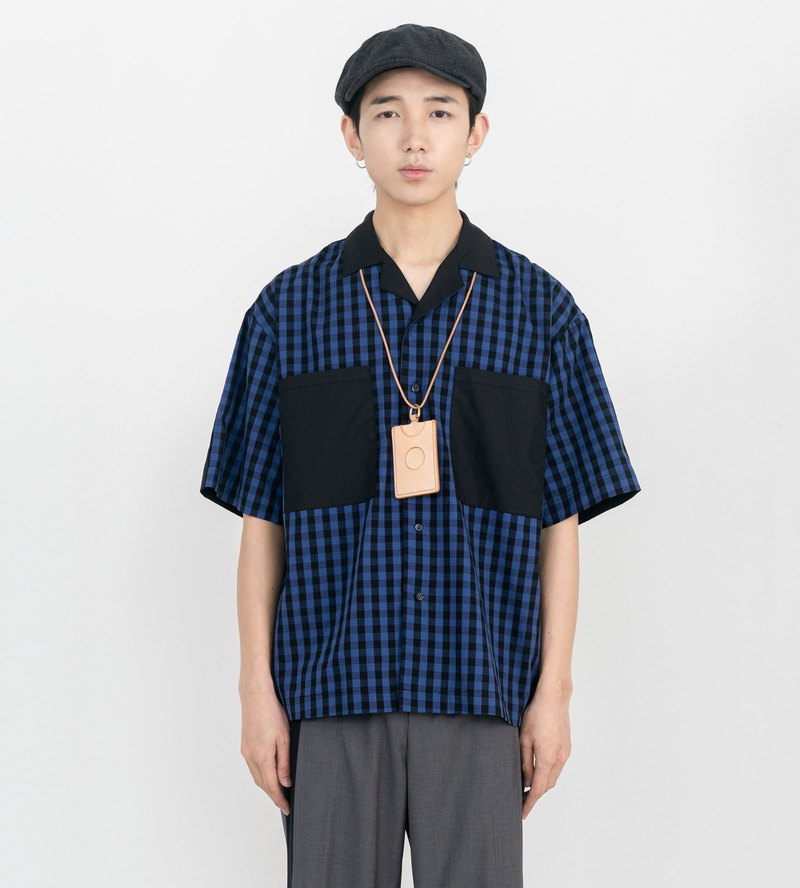 Blue stitching plaid short-sleeved shirt Japanese casual men and women with independent design