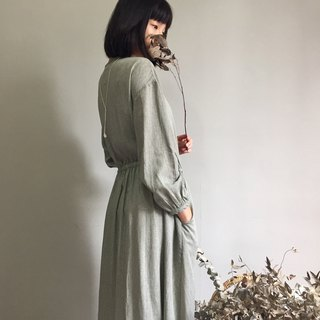 / Fragrance forest / buckle, tie rope coat two wear * Morandi gray green cotton and linen long dress