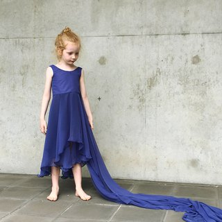 Girls Mod Summer Party Dress in Royal Blue 0 - 5 Years
