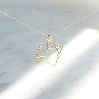【Geo】 14KGF Long Necklace, -3D Gold Geometry-