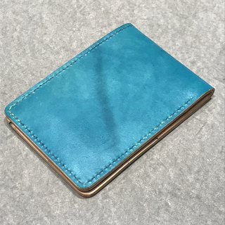 Hand-made hand-dyed leather horizontal folder passport holder