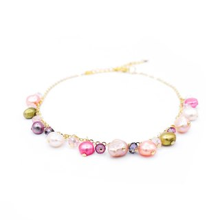 Pamycarie ZINNIA Gold-plated 925 Silver Pearl Anklet Pink/Blue