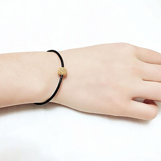 Yellow Lava Bead Diffuser Thin Black Natural Leather Bracelet with Extend Chain