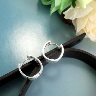 Easy buckle / ring earrings square line O-shaped (13.5mm) Easy-lock sterling silver earrings - ART64