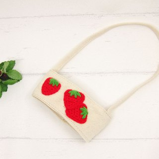 Strawberry / green cup bag / beverage bag / cup set
