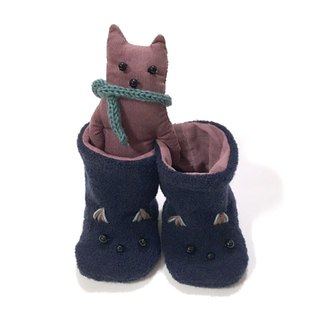 babygift   Baby booties of the cat  navy X pink