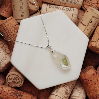 Flower that original brand / real flower gem necklace series. White hydrangea and leaf / immortal flower / sterling silver /