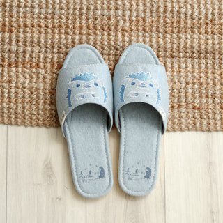Organic cotton embroidered indoor slippers (sequins hedgehog) sequined blue