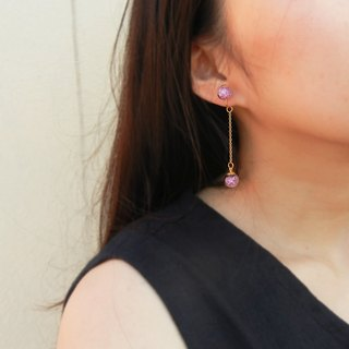 *coucoubird*peach pink broken ear clip / can change anti-allergic ear pin