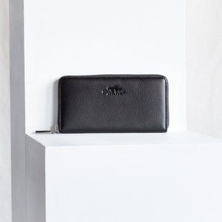 LUCKY - WOMEN SIMPLE LONG LEATHER WALLET - BLACK