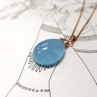 Girls Crystal World - [Girls Sky Blue] - Aquamarine Necklace Pendant hand works with 14K gold chain