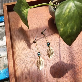 Laolin groceries Travelin-hand made brass earrings glazed leaf ear hook l ear pin l ear clip