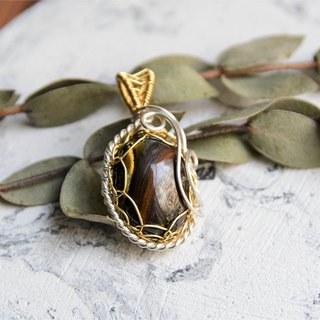 [Black shield] iron tiger eye stone two-color art copper wire woven pendant