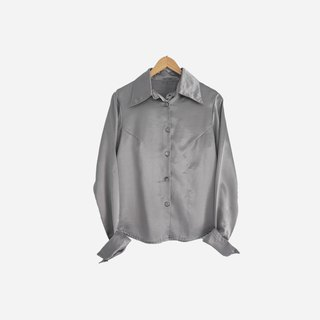 Dislocation vintage / silver satin long sleeve shirt no.886 vintage