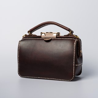 [Cut line] Dulles manual gold bag ladies doctor bag leather Messenger bag portable small bag mini