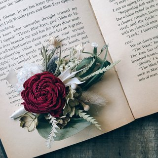 [Good flowers] wedding small things dried roses dried boutonniere groom boutonniere | happy red dried brooch (a)