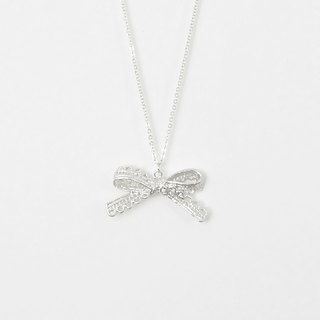 Lace. Bow tie Silver Necklace Lace. Sliver Bow Necklace