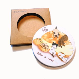 Cat Ceramic Water Cup Coaster~ Dessert Series ~ Puff Cat