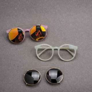 Korea retro big round frame double frame frame plus clip apple green baby powder sunglasses clip