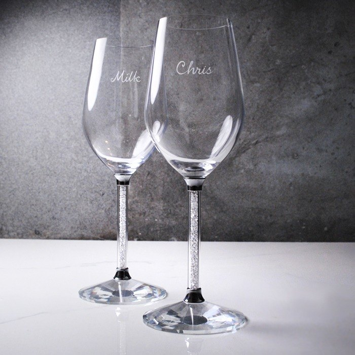 (One pair price) 350cc [Casablanca wedding] Full diamond lead-free crystal wedding pair customized cups