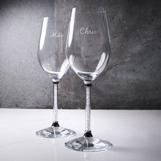 (One pair price) 350cc [Casablanca] full diamond wedding married to unleaded crystal diamond cup red wine glass custom name