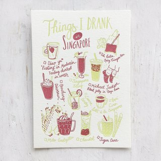 Things I Drank in Singapore Letterpress Postcard