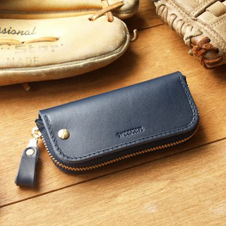 Leather Key Case ( Custom Name ) - Midnight Blue