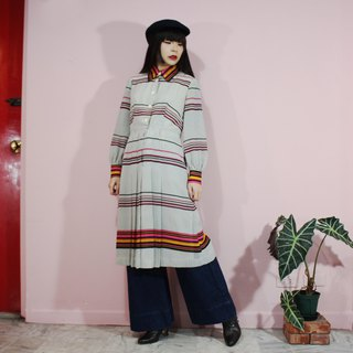 [Vintage Dress] (Made in Japan) White Black Pink Orange Stripe Long Sleeve Japanese Vintage Dress (Wedding / Picnic / Birthday Present / party)