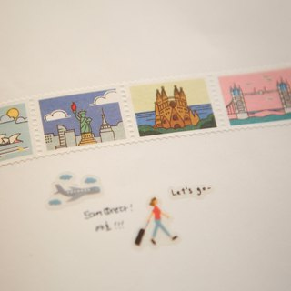 Dailylike stamp style paper tape (single roll) -07 world landmarks, E2D07464