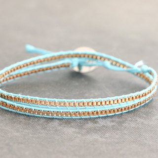 Light Blue Petite Wrap Bracelet Short Necklaces Chain
