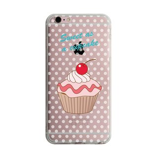 Cherry Cup Cake Transparent iPhone X 8 7 6s Plus 5s Samsung S8 S9 Mobile Shell