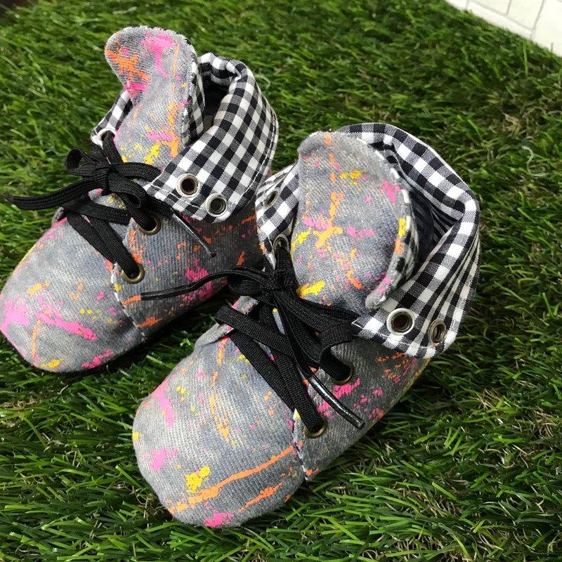 帥氣牛仔學步鞋-潑漆款