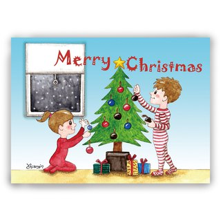 [Christmas] hand-painted illustration card Universal Christmas / postcard / card / illustration card - deco Christmas tree