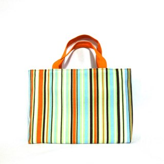 Small orange striped tote bag, handbag, canvas, handmade