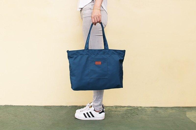 LAPELI │大容量滌綸手提包 藍綠色