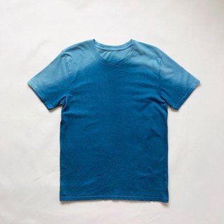 Indigo dyed 藍染 organic cotton - Mountain TEE  size S