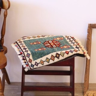 Light Blue Hand Woven Carpet Cushion Size Kilim Pattern Wool & Plant Dyed