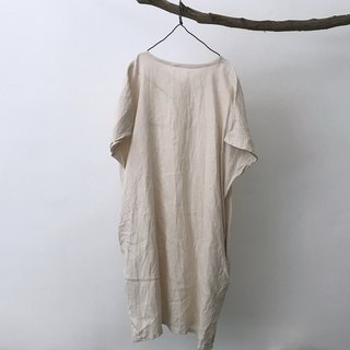 Beige cotton linen drop shoulder short sleeve dress