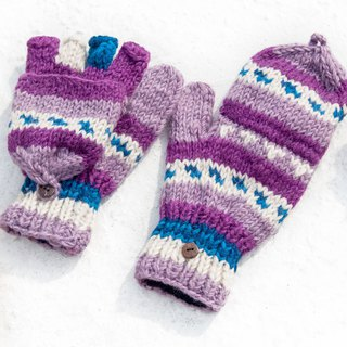 Hand-knitted pure wool knit gloves / detachable gloves / inner bristled gloves / warm gloves - purple forest