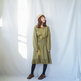 Vintage Olive Yellow Ruffles Dress