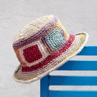 Valentine's Day gift limited to a hand-woven cotton and linen hat / weaving hat / fisherman hat / straw hat / straw hat - child color touch color block world